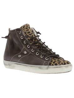 Leather Crown Leopard Print Trainer Shoes | Footwear