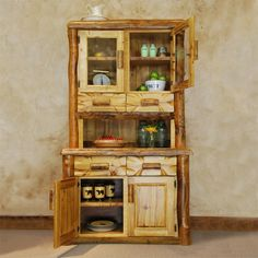 Aspen Log 3 Bay Buffet & Hutch provides cupboard space as well as several drawers. Good size for a smaller dining room without taking the extra room. Real Wood Furniture, Country Furniture, Dining Room Furniture, Aspen Lodge, Buffet Hutch, Small Log Cabin, Rustic Decor, Rustic Charm, Diy Kitchen