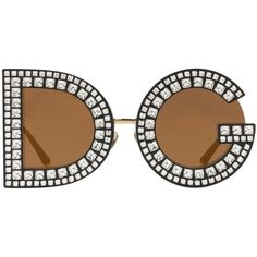 Dolce & Gabbana Women Dg Crystals Embellished Sunglasses ($1,400) ❤ liked on Polyvore featuring accessories, eyewear, sunglasses, gold, lens glasses, embellished sunglasses, oversized eyewear, over sized sunglasses and oversized glasses