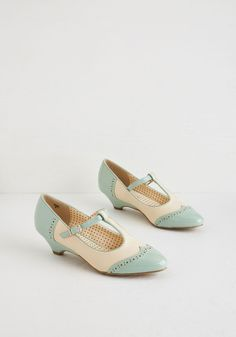 Care to Dance? Heel in Mint. When your plans involve cutting a rug with your date, buckle into these two-toned heels by Bait Footwear! #mint #modcloth