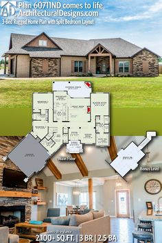Architectural Designs House Plan 60711ND comes to life! | 3 beds | 2.5 baths | 2,100+ Sq.Ft. | Ready when you are! Where do YOU want to build? #60699ND #adhouseplans #architecturaldesigns #houseplan #architecture #newhome #newconstruction #newhouse #homedesign #dreamhouse #homeplan #architecture #architect #houses #homedecor #craftsmanhome #craftsmanstyle #southernliving #3bedhome #ruggedhome #hillcountry