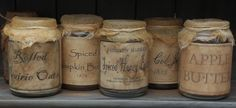 DIY tutorial on how to make old jar labels; the-primitive-pan. Primitive Labels, Primitive Crafts, Primitive Stitchery, Primitive Patterns, Primitive Homes, Primitive Snowmen, Primitive Christmas, Country Christmas, Wood Crafts