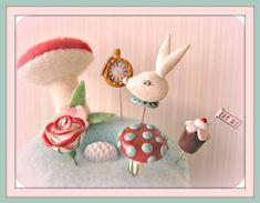 Alice-in-Wonderland pin topper set