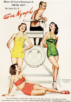 When all you're wearing is a swimsuit... #vintage #1950s #summer #beach #ads