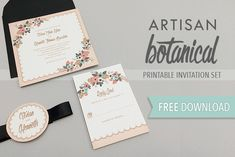 Free Delicate Floral Wedding Invitation Suite by @downloadprint on The Budget Savvy Bride