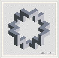 Cross Stitch Pattern Abstract figure 3D effect grey geometric monochrome  polyhedron Counted Cross Stitch Pattern Instant Download Epattern 803ae20076228