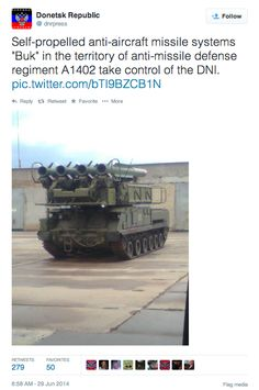 Deleted People's Republic of Donetsk tweet confirming Russian rebels indeed have a BUK-M1.