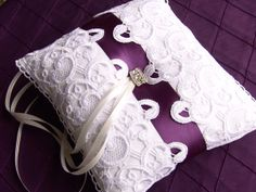 Ring pillow White Ring Pillow Wedding Lace Ring by SophieAtelier, $42.00