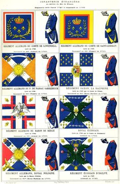 Mouillard - Infanterie étrangère Former regiments German Military Art, Military History, Military Uniforms, Luis Xiv, Frederick The Great, France Flag, Seven Years' War, French Castles, My War