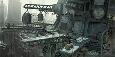 Fluid X http://www.rochr.com/ -- sci fi -- port -- cyberpunk -- metal -- scaffolding --