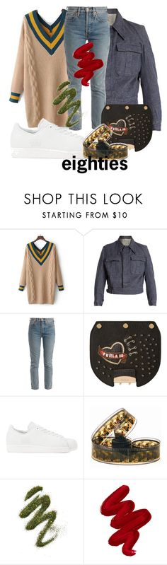 """""""80s"""" by kingthesirens ❤ liked on Polyvore featuring WithChic, Myar, RE/DONE, Furla, adidas Originals, Certifeye, Obsessive Compulsive Cosmetics and vintage"""