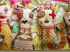 stuffed monster art dolls by Junker Jane