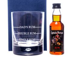Engraved SINGLE/DOUBLE RUM Glass + Miniature