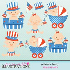 Patriotic Baby Cute Digital Clipart for Card Design, Scrapbooking, and Web Design on Etsy, $5.00