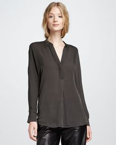 Silk Blouse, Fatigue by Vince at Bergdorf Goodman.