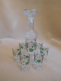Decanter & 6 Irish St. Patrick's Day Green Flowers Cordial Liqueuer Shot Glasses | eBay