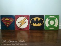 Vintage Superhero Pallet Signs Superman Batman Green Lantern Flash Hey, I found this really awesome Etsy listing at https://www.etsy.com/listing/168499286/vintage-super-hero-wood-signs