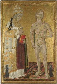 Giovanni di Paolo (Italian, 1403-1482), Saints Fabian and Sebastian, c. 1475. Egg tempera on wood, 84.5 x 54.5 cm. The National Gallery, London.