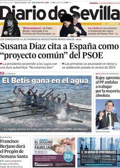 Los Titulares y Portadas de Noticias Destacadas Españolas del 10 de Noviembre de 2013 del Diario de Sevilla ¿Que le pareció esta Portada de este Diario Español?
