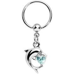 Aqua Gem Leaping Dolphin Dangle Captive Ring #piercing #bodycandy
