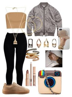 """""""Hard out here for a pimp"""" by comptonstylegal ❤ liked on Polyvore featuring Boohoo, Puma, Michael Kors, Good Charma, Melissa Odabash and MUA MUA"""