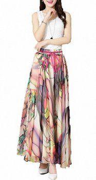 Afibi Women Floral Print Pleated Vintage Chiffon Long Maxi Skirt (Medium, S-3)