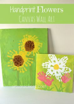 Have fun with your children (and get some great Spring wall decor) with this keepsake handprint craft. Learn how to make handprint sunflowers, daisies, and tulips! Baby Crafts, Crafts To Do, Easter Crafts, Crafts For Kids, Toddler Art, Toddler Crafts, Kids Canvas, Canvas Wall Art, Toddler Canvas Art