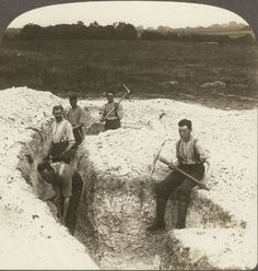 British Tommies Digging Second Line Trenches in France. Underwood Stereoview #41