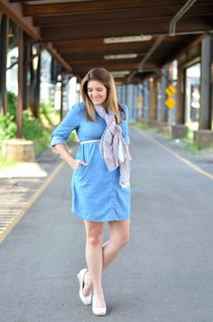 Chambray button up dress, floral polka dot scarf, espadrille wedges