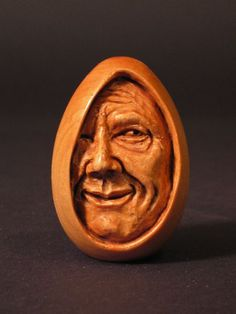 'Ei' is carved from a wooden egg by Lundy Cupp;  2-1/2 inches tall
