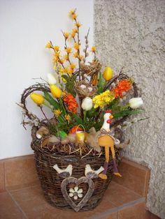 Veľkonočný kôš, Autor: Cherry Easter Wreaths, Spring, Ladder Decor, Party Themes, Diy And Crafts, Table Decorations, Flowers, Origami, Handmade