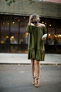 Cynthia Rowley Off the Shoulder Flounce Silk Dress {$375} // Andra Neen Oval Cage Clutch {$675} // Alexandre Birman Suede Sandals {$695}