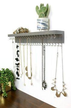 Wall mount necklace, jewelry organizer with shelf, necklace display - -. - Wall Mount Necklace, Jewelry Organizer with Shelf, Necklace Display – -… – Wall Mount Necklac - Wall Mounted Necklace Holder, Diy Necklace Holder, Wall Mount Jewelry Organizer, Necklace Hanger, Necklace Storage, Jewelry Wall, Diy Jewelry Holder, Jewelry Hanger, Jewellery Storage