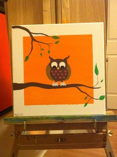 Acrylic Owl painting by Megan Pelfrey