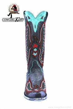 """Boots/Sandals :: Boots :: OLD GRINGO BEADED """"EAGLE CHAQUIRA"""" DISTRESSED BLACK/AQUA/RED BOOTS! - Native American Jewelry