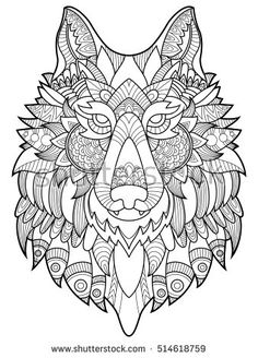 Wolf coloring book for adults raster illustration. Anti-stress coloring for adult. Tattoo stencil. Zentangle style. Black and white lines. Lace pattern