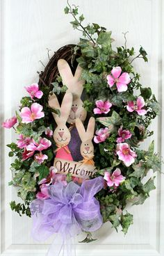 Beautiful Easter Wreath for Front Door, Bunnies with Welcome Sign, Colorful Pink Apple Blossoms -- FREE SHIPPING. $95.00, via Etsy.