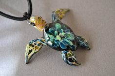 Turquoise Tide Pool Sea Turtle pendant Great Gift (39.00 USD) by Glassnfire