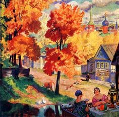 Boris Kustodiev (1878-1927) Russian Artist and Stage Designer ~ Blog of an Art Admirer. Autumn in Province