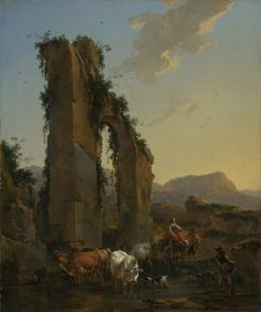 BBC - Your Paintings - Peasants with Four Oxen and a Goat at a Ford by a Ruined Aqueduct - Berchem