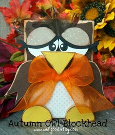 Autumn OWL Blockhead kit by wellgood on Etsy 2x4 Crafts, Wooden Crafts, Cute Crafts, Crafts To Make, Thanksgiving Crafts, Holiday Crafts, Holiday Ideas, Thanksgiving Decorations, Fall Halloween