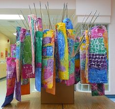 Koinobori Windsocks. 1st grade. Lesson instructions are given at this site.