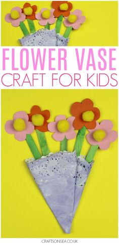 This super cute flower craft for kids is easy to make and looks so pretty! The perfect excuse for a doily craft and perfect for spring or Mothers Day #kidscrafts #kidsactivities