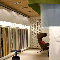 KVADRAT Showroom – Architecture by Alfredo Häberli [] #<br/> # #Showroom,<br/> # #Bedding,<br/> # #Textile<br/> Curtain Shop, Textiles, Shop Front Design, Design Development, Showroom, Bedding, Curtains, Architecture, Display Ideas