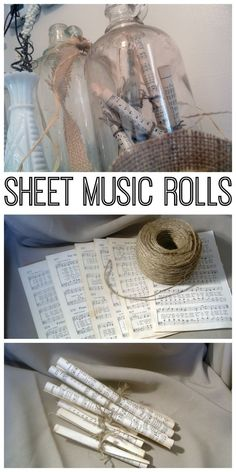 Make these sheet music rolls in seconds for your home decor. Add a vintage touch to any room in your home with this DIY project. >>> Find out more at the image link. #homedecordiy
