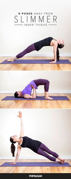 9 Yoga Poses to Help You Achieve Strong and Toned Inner Thighs Dear inner-thigh fat, I'm so sorry to see you go. If your inner thighs could use some attention, here are nine yoga poses that'll fire up this Yoga Sequence For Beginners, Yoga Poses For Beginners, Yoga Routine, Yoga Inspiration, Yoga For Thighs, Yoga For Legs, Fitness Del Yoga, Sweat Fitness, Workout Fitness