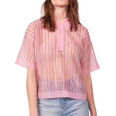 Sandro Pink-Striped Collared Top    https://www.evachic.com/product/sandro-pink-striped-collared-top/
