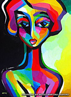 Introspective Woman abstract original painting by artist Martina Shapiro, contemporary female portrait