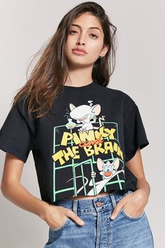 Forever 21 Pinky And The Brain Graphic Tee Forever 21 Outfits, Forever 21 Shirts, Cool Outfits, Casual Outfits, Fashion Outfits, Dress With Cardigan, Tees For Women, Cool T Shirts, Brain Graphic
