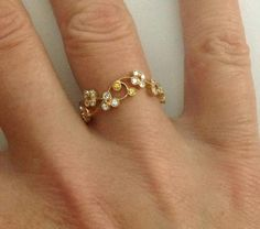 Dalben Yellow Sapphire Diamond Gold Band Ring | From a unique collection of…